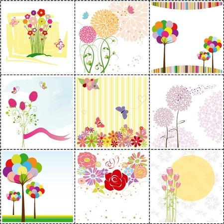 butterfly ladybird: conjunto de coloridas flores, mariposas, tarjetas de felicitaci�n de ladybird
