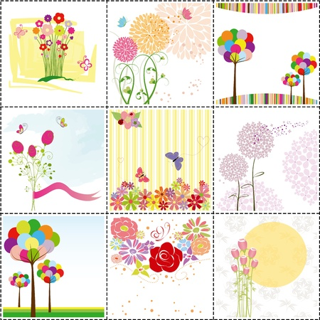 set of colorful flowers,butterfly,ladybird  greeting card Çizim