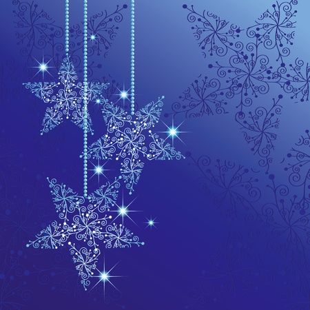Christmas greeting card with sparkling stars blue background