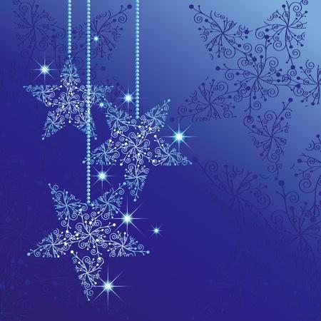 noche estrellada: Tarjeta de felicitaci�n de Navidad con estrellas espumosos azul de fondo