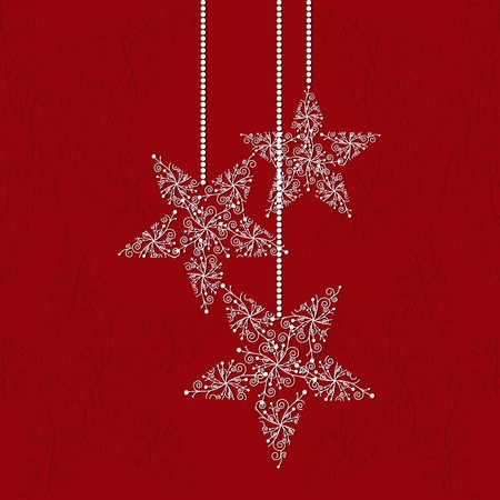 christmas motif: Christmas greeting card with star shape snowflakes and red background