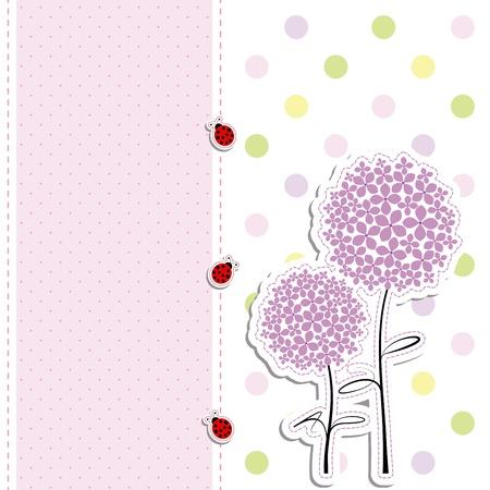 card design purple flowers,ladybirds on polka dot background Stock Vector - 10213824