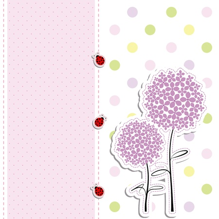 card design purple flowers,ladybirds on polka dot background Иллюстрация