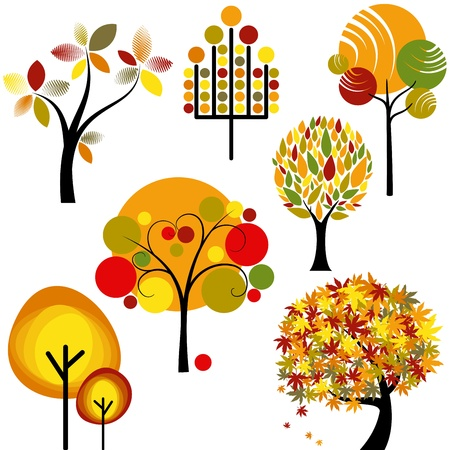 set of abstract colorful autumn tree collection