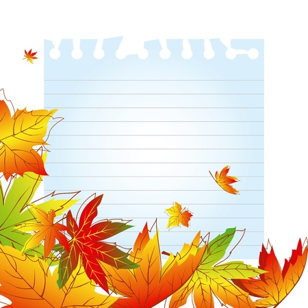 Abstract colorful autumn leaves on white note paper Vector