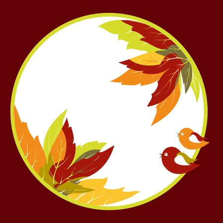 Abstract coloful autumn leaves with bird background