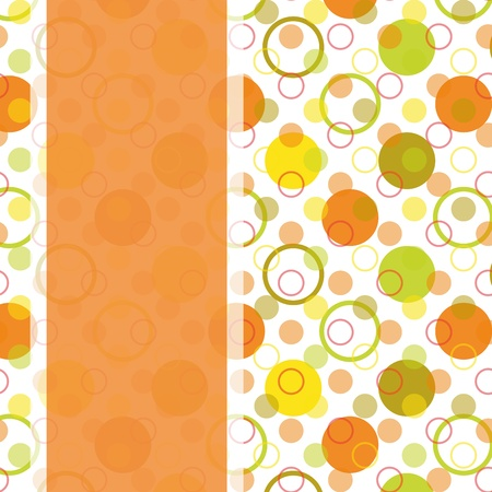vintage card design with colorful polka dot seamless pattern
