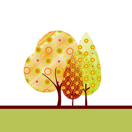 Abstract colorful autumn tree on white green background greeting card Vector