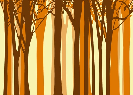 seasonal forest: Abstract colorful autumn tree on yellow background
