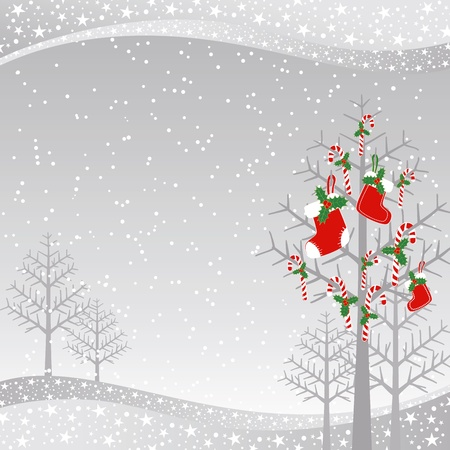 white socks: Christmas greeting card red candy on xmas tree