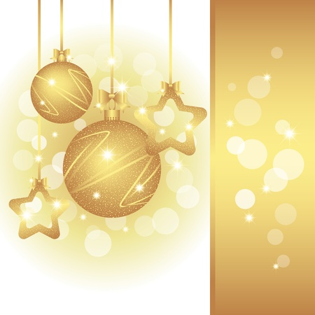 Christmas greeting card on sparkling golden color background Vector