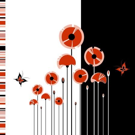 amapola: Abstracto amapola roja sobre fondo blanco y negro