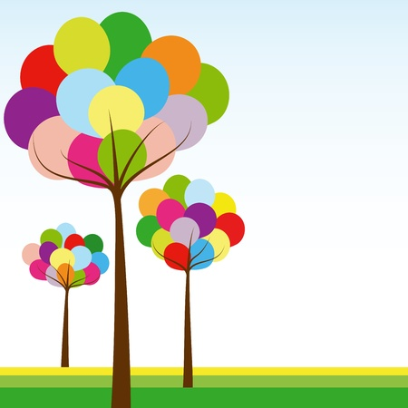 Abstract springtime rainbow color tree on green white background Иллюстрация