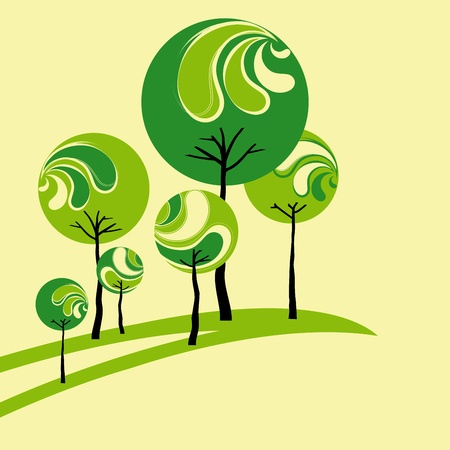 natura: Abstract springtime green tree on yellow background Illustration