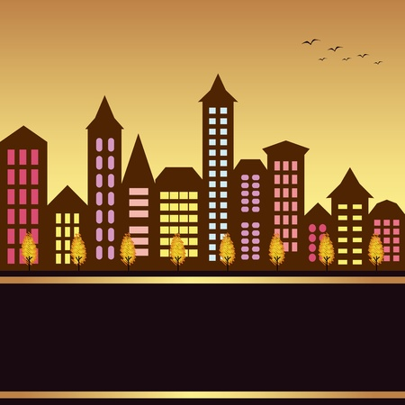 Autumn cityscape illustration with colorful building and autumn tree Vector