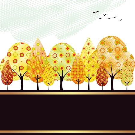 Abstract colorful autumn tree and bird greeting card