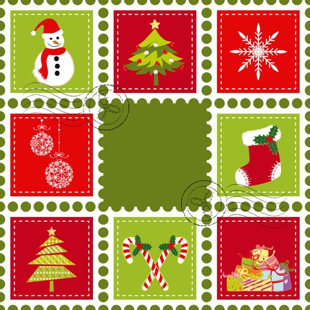 christmas mail: Sets of colorful Christmas stamp postage on green background