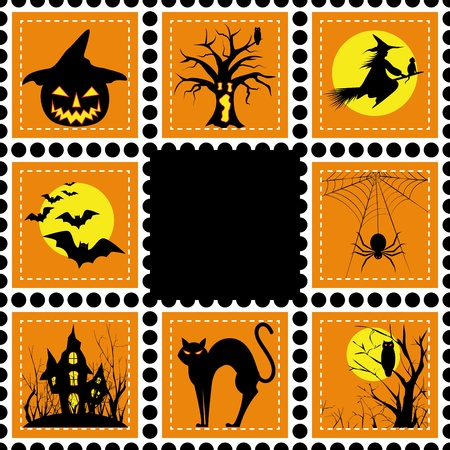 Halloween set of stamp on orange black background Vector