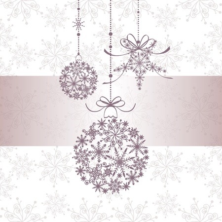 Christmas greeting card with snowflake ball and star