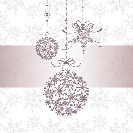 Christmas greeting card with snowflake ball and star