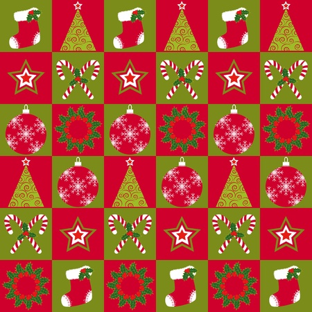 Christmas ornament seamless pattern red green background Vector