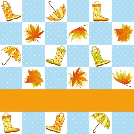 Colorful autumn rain seamless pattern background Vector