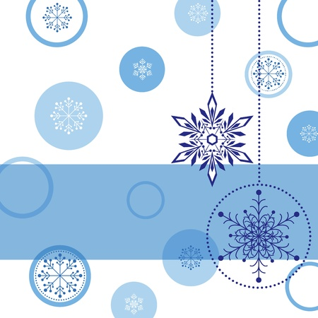 Christmas greeting card with snowflake ball and star Vector