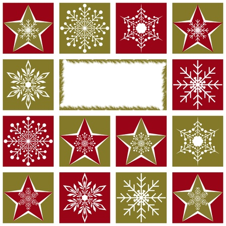 christmas motif: Christmas greeting card with snowflakes and star on red green background Illustration