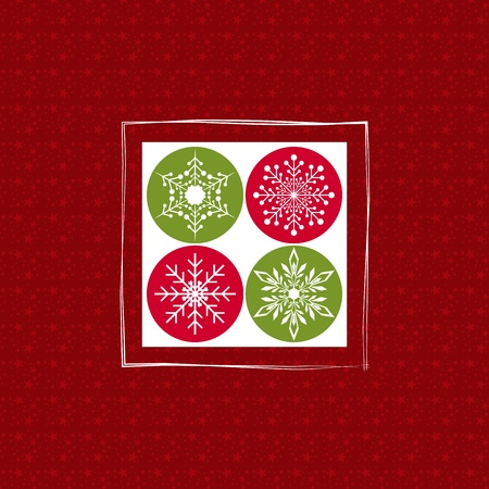 Christmas greeting card with snowflakes on red starry background Vector
