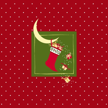 Christmas stocking with colorful Christmas gifts on white dot red background Stock Vector - 11273004