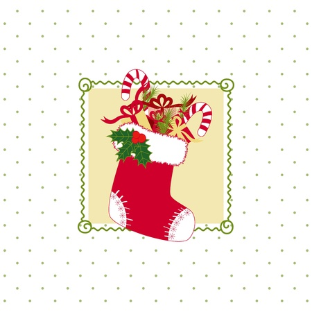 Christmas stocking with colorful Christmas gifts on polka dot background Vector