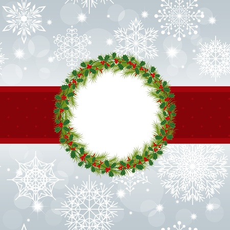 Christmas greeting card with snowflakes and star on silver background Vector