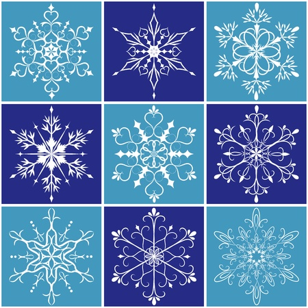 Christmas snowflake icon set on blue background Vector