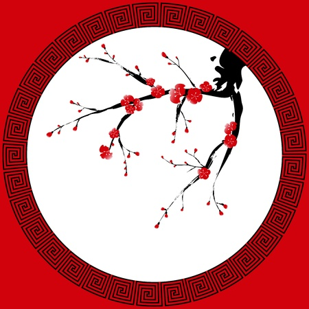 ciruela: La pintura de estilo oriental, ciruelo en flor, la flor de cerezo Vectores