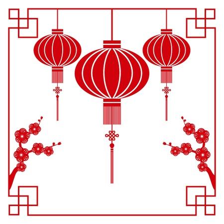 Chinees papier snijden motief chinese lantaarn en kersenbloesem