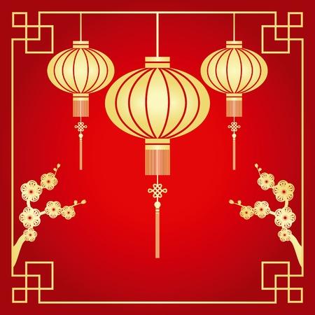 flores chinas: Corte de papel de china linterna de motivos chinos y los cerezos en flor Vectores