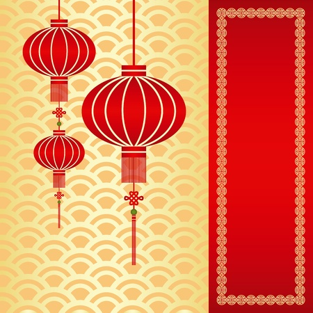 Red chinese lantern on seamless pattern background Çizim