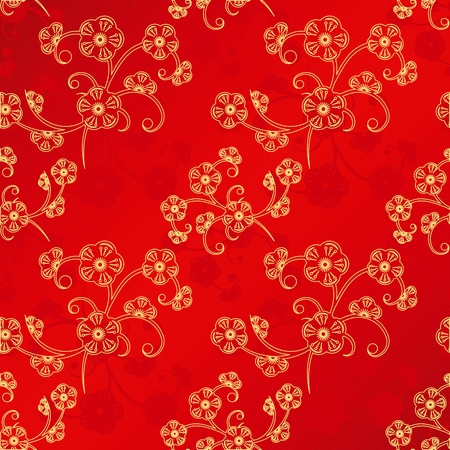 Oriental Chinese New Year cherry blossom seamless pattern background Vector