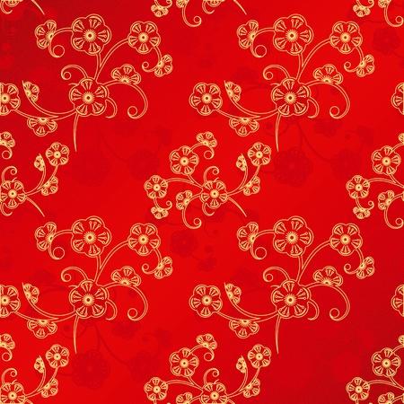orientalische muster: Oriental Chinese New Year Kirschbl�te nahtlose Muster Hintergrund