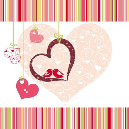 Lovebirds forma colorido corazón de tarjetas de felicitación Ilustración de vector