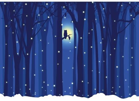 Winter-Illustration Baum mit Eule
