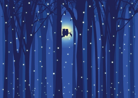 Winter illustration love owl in snowing forest Vector