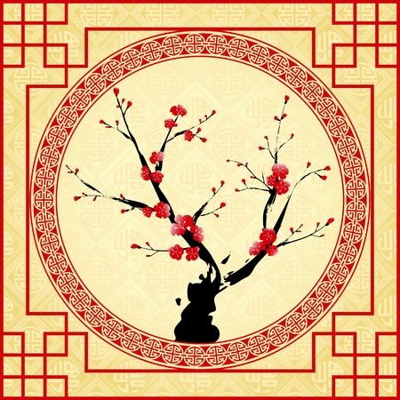 오리엔탈 스타일 그림, 매 화 꽃, 벚꽃 일러스트