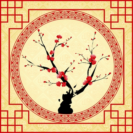 Oriental style painting, Plum blossom, Cherry blossom