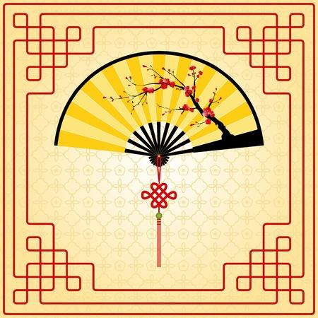 flores chinas: La pintura de estilo oriental, flor del ciruelo en el ventilador china amarilla