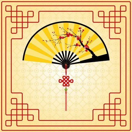 Oriental style painting, Plum blossom on yellow Chinese fan Vector