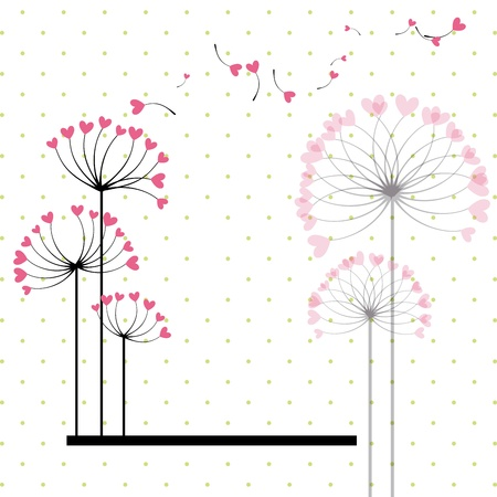 dandelion abstract: Abstract love flower on green polka dot background