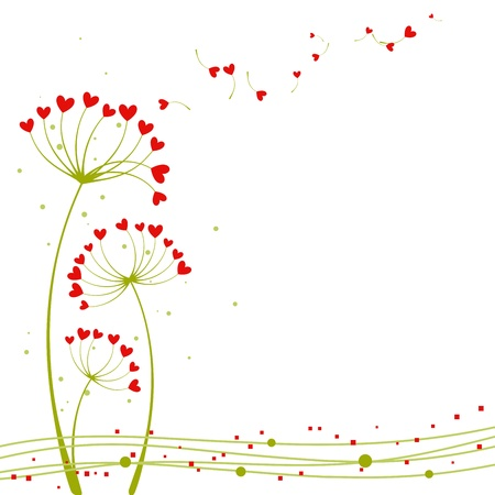 dandelion flower: Abstract springtime love flower greeting card Illustration