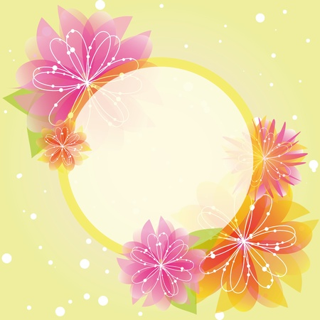 Abstract springtime flower greeting card on green yellow background Vector