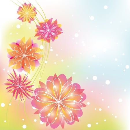Abstract springtime flower on colorful background Illustration